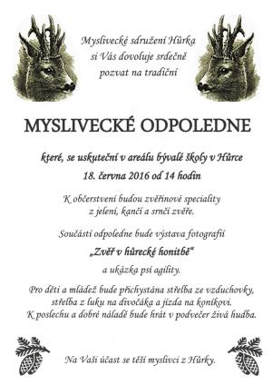 pozvanka_myslivecke_odpoledne_ms_hurka_6-2016_plakat